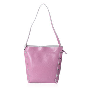 5ff8b451af Lilac Genuine Leather Studded Bucket Bag with Detachable Shoulder Strap  (11x5x12 in)
