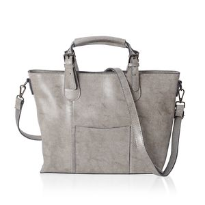 Gray Genuine Leather Tote Bag with Shoulder Strap and Handle (15.3x12x10 in)