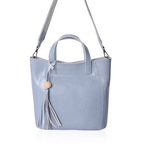 Pastel Blue Genuine Leather Wooden Tassel Tote Bag with Standing Studs and Removable Fabric Shoulder Strap (11x4.5x10 in)