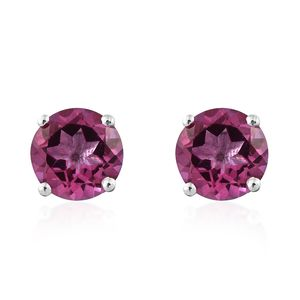 Pure Pink Mystic Topaz Platinum Over Sterling Silver Stud Earrings TGW 2.95 cts.