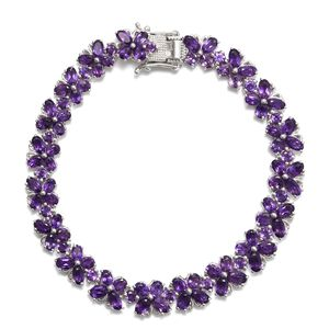 TLV Amethyst Platinum Over Sterling Silver Bracelet (8.00 In) TGW 17.65 cts.