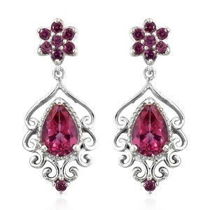 Pure Pink Mystic Topaz, Orissa Rhodolite Garnet Platinum Over Sterling Silver Floral Drop Dangle Earrings TGW 4.84 cts.