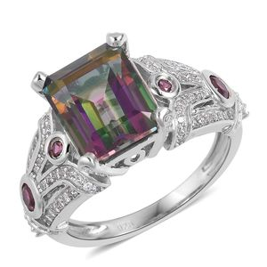 Northern Lights Mystic Topaz, Multi Gemstone Rhodium Over and Sterling Silver Ring (Size 7.0) TGW 6.74 cts.