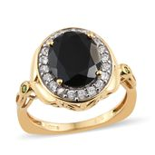 Thai Black Spinel, Multi Gemstone Vermeil YG Over Sterling Silver Euro Style Ring (Size 7.0) TGW 6.43 cts.