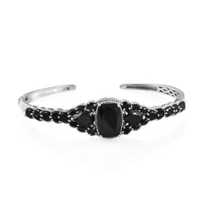 Thai Black Spinel Platinum Over Sterling Silver Cuff (7.25 in) TGW 18.58 cts.
