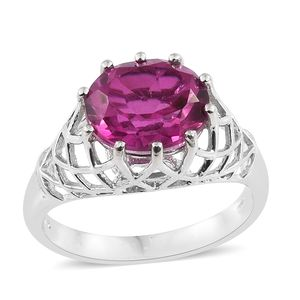 Radiant Orchid Quartz Platinum Over Sterling Silver Ring (Size 7.0) TGW 5.00 cts.