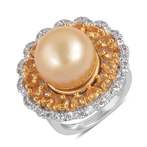South Sea Golden Pearl (12-12.5 mm), Multi Gemstone 14K YG Over and Sterling Silver Cocktail Ring (Size 7.0) TGW 1.75 cts.