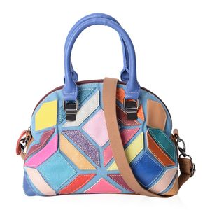 Chaos By Elsie Multi Color Genuine Leather Half Moon Bag (11x5x8 in) with Removable Shoulder Strap (50 in)