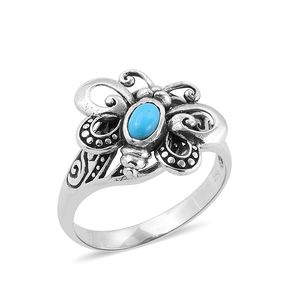 Bali Legacy Collection Arizona Sleeping Beauty Turquoise Sterling Silver Butterfly Ring (Size 8.0) TGW 0.44 cts.