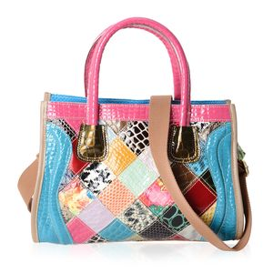 Chaos By Elsie Multi Color Animal Print Satchel Bag in Genuine Leather