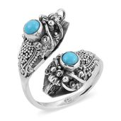 Bali Legacy Collection Arizona Sleeping Beauty Turquoise Sterling Silver Bypass Ring (Size 11.0) TGW 0.88 cts.