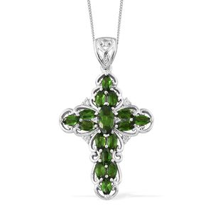 Russian Diopside, Cambodian Zircon Platinum Over Sterling Silver Cross Pendant With Chain (20 in) TGW 3.24 cts.