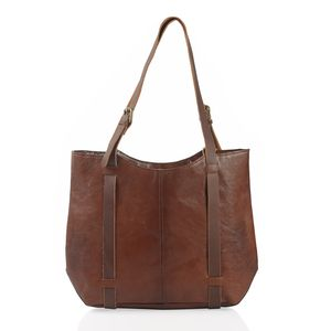 Brown Genuine Leather RFID Saddle Shoulder Bag (17x3.5x12 in)