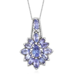 Tanzanite, Cambodian Zircon Platinum Over Sterling Silver Pendant With Chain (20 in) TGW 1.95 cts.