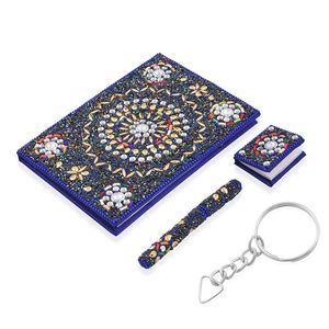 Set of 3 Gift Set - Multi Color Beaded Diary (5x7 in), Ball Point Pen (4.5 in) and Notebook Shape Keychain (1.5x2 in)