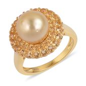 South Sea Golden Pearl (10-10.5 mm), Brazilian Citrine 14K YG Over Sterling Silver Ring (Size 8.0) TGW 1.15 cts.