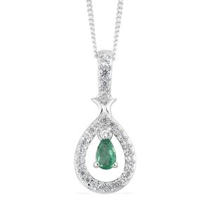 Brazilian Emerald, Cambodian Zircon Platinum Over Sterling Silver Drop Pendant With Chain (20 in) TGW 0.46 cts.