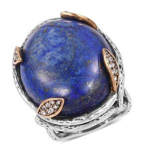 Lapis Lazuli, White Austrian Crystal Black Oxidized Stainless Steel Ring (Size 6.0) TGW 10.50 cts.