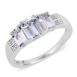 Espirito Santo Aquamarine, Natural White Zircon Sterling Silver Ring (Size 7.0) TGW 1.95 cts.