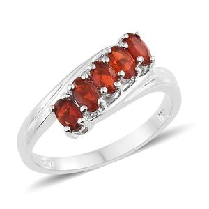 Crimson Fire Opal Platinum Over Sterling Silver 5 Stone Bypass Ring (Size 7.0) TGW 0.70 cts.