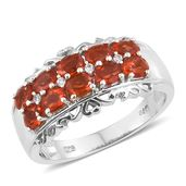 Crimson Fire Opal, Cambodian Zircon Platinum Over Sterling Silver Ring (Size 6.0) TGW 1.20 cts.
