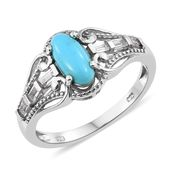 Arizona Sleeping Beauty Turquoise, White Topaz Platinum Over Sterling Silver Ring (Size 5.0) TGW 1.40 cts.
