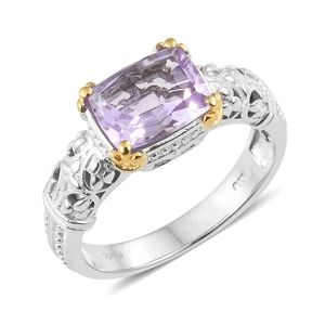 KARIS Collection - Rose De France Amethyst ION Plated 18K YG and Platinum Bond Brass Ring (Size 6.0) TGW 2.80 cts.