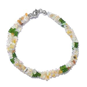 Ethiopian Welo Opal, Russian Diopside Platinum Over Sterling Silver Bracelet (7.50 In) with Lobster Lock TGW 28.80 cts.