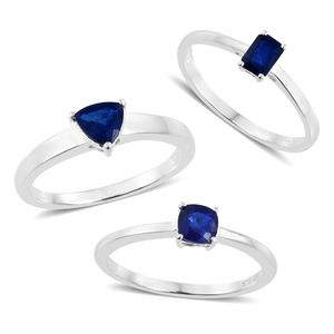 Blue Spinel Sterling Silver Set of 3 Solitaire Ring (Size 7) TGW 1.90 cts.