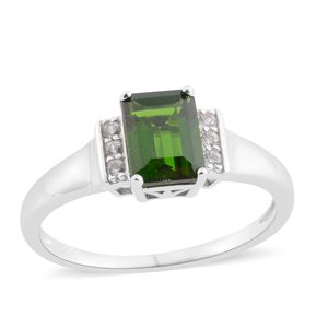 Russian Diopside, White Zircon Sterling Silver Ring (Size 8.0) TGW 1.74 cts.
