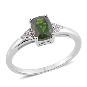 Russian Diopside, White Zircon Sterling Silver Ring (Size 8.0) TGW 1.53 cts.