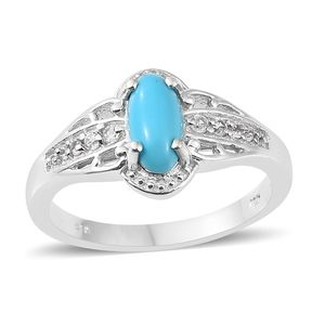Arizona Sleeping Beauty Turquoise, Cambodian Zircon Platinum Over Sterling Silver Ring (Size 5.0) TGW 1.19 cts.