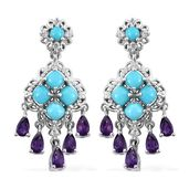 Arizona Sleeping Beauty Turquoise, Multi Gemstone Platinum Over Sterling Silver Chandelier Earrings TGW 5.35 cts.