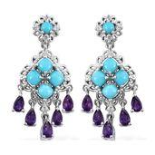 Arizona Sleeping Beauty Turquoise, Multi Gemstone Platinum Over Sterling Silver Chandelier Earrings TGW 5.35 cts.