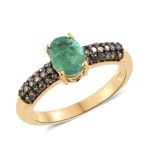 Brazilian Emerald, Natural Champagne Diamond Black Rhodium & Vermeil YG Over Sterling Silver Ring (Size 7.0) TDiaWt 0.36 cts, TGW 1.46 cts.