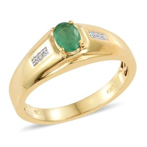 Brazilian Emerald, Cambodian Zircon Vermeil YG Over Sterling Silver Men's Ring (Size 12.0) TGW 0.83 cts.