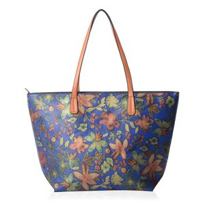 Blue with Multi Color Flower Pattern Faux Leather Tote Bag (18.1x4x11.4 in)