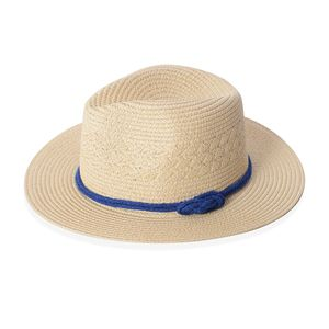 Natural 100% Straw Paper Bow String Fedora Hat (12.5 in)