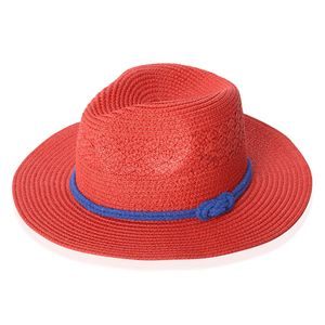 Cherry Red 100% Straw Paper Bow String Fedora Hat (12.5 in)