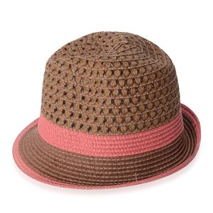 Brown 100% Straw Paper Hat with Pink Band (9.25x4.5 in)