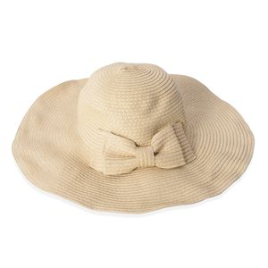 Off White 100% Straw Paper Sun Hat with Bowknot (15.5 in)