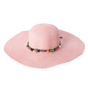 Pink 100% Straw Paper Beaded String Floppy Hat (One Size)