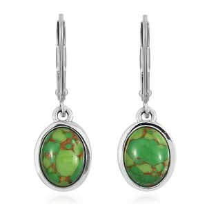 Mojave Green Turquoise Stainless Steel & Sterling Silver Lever Back Earrings TGW 3.60 cts.