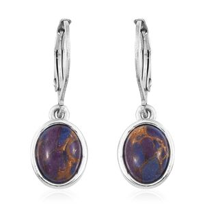Mojave Purple Turquoise Stainless Steel & Sterling Silver Lever Back Earrings TGW 3.60 cts.