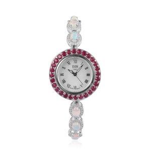 EON 1962 Ethiopian Welo Opal, Niassa Ruby, Natural White Zircon Swiss Movement Sterling Silver Bolo Bracelet Watch (Adjustable) TGW 11.50 cts.
