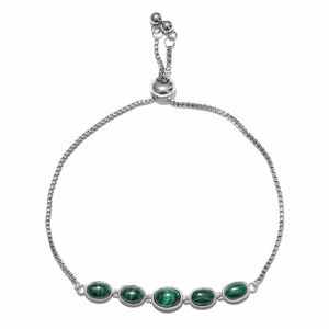 African Malachite Stainless Steel & Sterling Silver Bolo Bracelet (Adjustable) (9.50 In) TGW 6.35 cts.