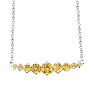 Simulated Yellow Diamond Sterling Silver Necklace (18 in) TGW 4.65 cts.