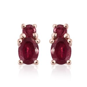 Niassa Ruby 14K RG Over Sterling Silver Earrings TGW 0.74 cts.