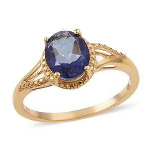 Odyssey Tanzanite Quartz 14K YG Over Sterling Silver Ring (Size 8.0) TGW 2.25 cts.