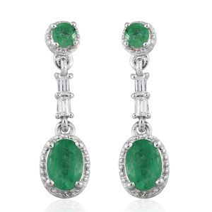 Brazilian Emerald, Cambodian Zircon Platinum Over Sterling Silver Dangle Earrings TGW 1.94 cts.